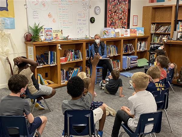 K-1-2 social-emotional teacher, Allison Neckers, works with students.